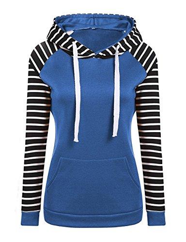 Festa Felpa Hoodie Felpe Donne Casual Camicetta Blu Lunga Con Eleganti Ragazze Invernali Style Cappuccio Stripe Cucitura Pullover Manica 4nRZPgnx