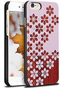 Vena [NEU Echo] Apple iPhone 6s / 6 Wooden Case, Thin Genuine Wood Backplate Hybrid Case for Apple iPhone 6s and 6 (Rosewood/Pink Flower)