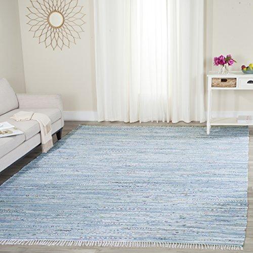Safavieh Rag Rug Collection RAR125A Hand Woven Light Blue and Multi Cotton Area Rug (9' x - Rug Rag Blue