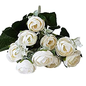 zzJiaCzs Artificial Rose Flower,1Pc Faux Flower Rose Home Garden Wedding Party DIY Photography Props Decor - Milk White 117