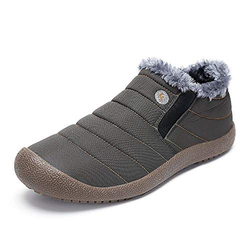 DADAZE Winter Boots Snow Boots Warm Ankle Boots Waterproof Warm Fur Lined Flat Slippers Outdoor Indoor Shoes for Men and Women Low Top Grey