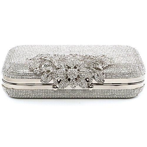 Box Silver Womens Wedding Diamante Bridal Clutch Evening Ladies Broche Shaped Handbag Fwgvtq4w