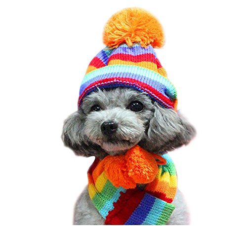 Zonepets Winter Pet Dog Striped Pompon Hat & Scarf & Legs Set for Small Dogs (S, Red) Dog Hat Set