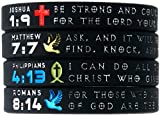 """Symbols of Faith"" Bible Bracelets w/ Christian Symbols - Set of 4 Scripture Engraved Silicone Wristbands"