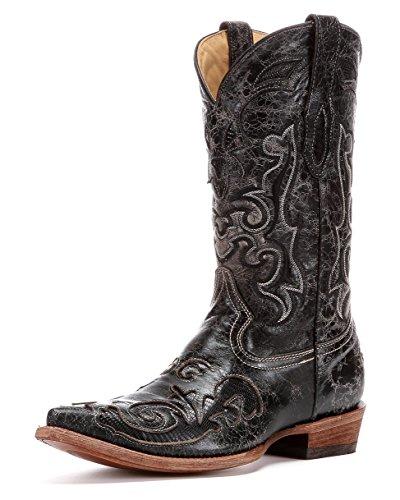 Corral Men's C2155 Vintage Lizard Inlay Black Cowboy Boots 11.5 ()