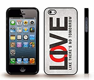 """iStar Cases? iPhone 4 Case with """"Live/Love like there's no tomorrow"""" Motivational Black and Red Font on White Textured , Snap-on Cover, Hard Carrying Case (Black)"""