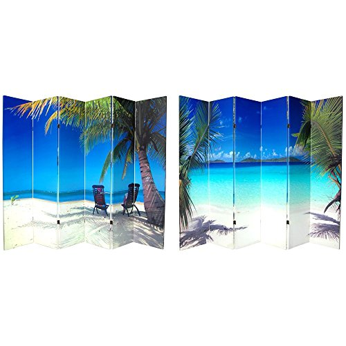 Oriental Furniture 6 ft. Tall Double Sided Ocean Canvas Room Divider 6 - Furniture Canvas