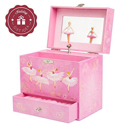 Ballerina Music Box for Girls - Dancing Musical Jewelry Box (Earring Angel Display)
