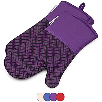 Silicone Oven Mitts Greek Key Pattern Heat Resistant Potholders Cooking Gloves Non-Slip Barbecue Gloves, Pot Holders,1 Pair(Purple) LA Sweet Home
