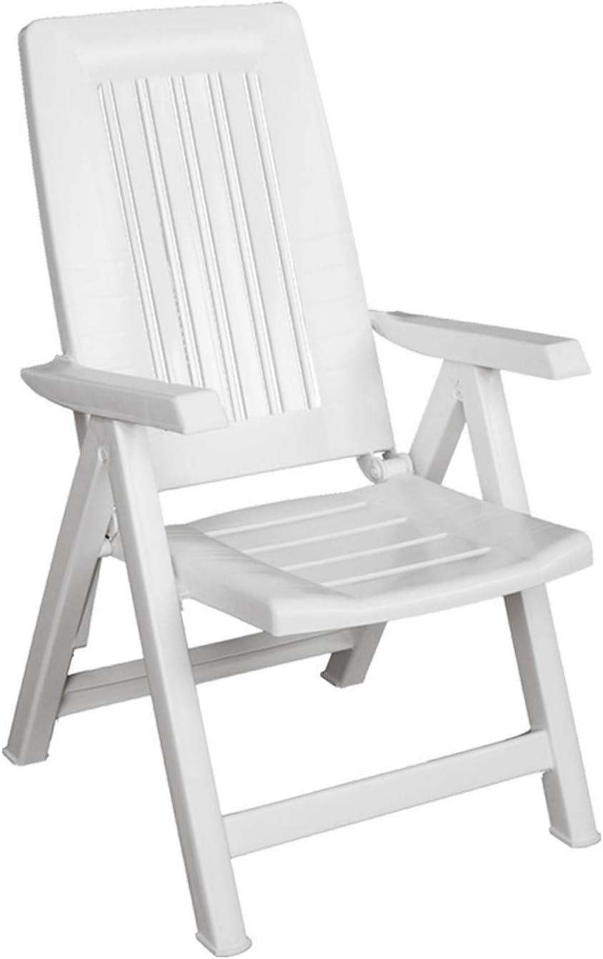 SF SAVINO FILIPPO - Sillón tumbona plegable, reclinable, ajustable, diana de resina de plástico blanco para playa, piscina, camping, jardín, balcón o casa