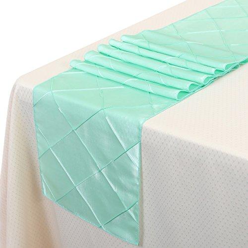 Taffeta Sash Colors Light (Remedios 12x108 Inch Pintuck Taffeta Table Runner Wedding Decoration Mint Green)