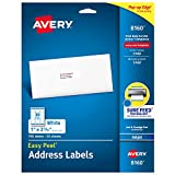 Avery Address Labels with Sure Feed for Inkjet Printers, 1'' x 2-5/8'', 750 Labels, Permanent Adhesive (8160) - 08160