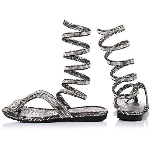 Romanos Xianshu de pie Mujeres de de Zapatos Zapatos Serpiente Planos de del del Imitación Verano Clip Plateado de Dedo Sandalias de Diamantes de Playa X7azxw4qFn