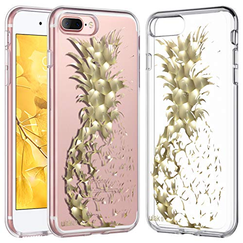 ULAK Clear Foil Phone Case Compatible iPhone 7 Plus, iPhone 8 Plus Clear with Design Hybrid Protective Shock-Absorption TPU Bumper Hard PC Back Cover for iPhone 7 Plus/ 8 Plus 5.5 inch, Pineapple