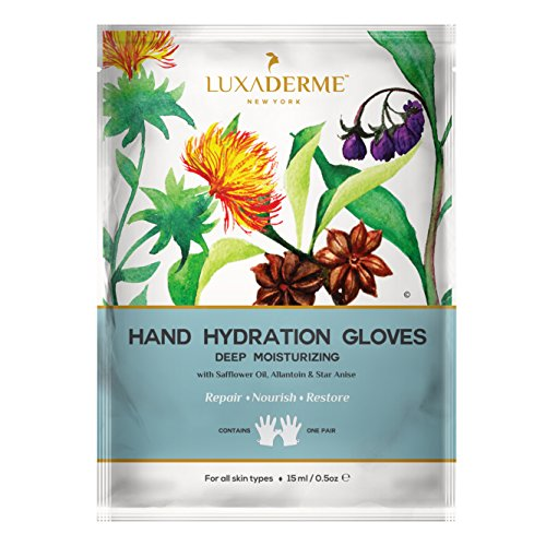 LuxaDerme Deep Moisturizing - Hand Hydration Gloves (Pack of 1) Infused with essence containing Safflower Seed Oil, Allantoin, Botanical Extracts & Antioxidants for soft, smooth & supple hands
