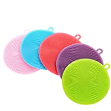Silicone Dish Sponge Washing Brush Scrubber 5 Pack Household Cleaning Sponges, Antibacterial Mildew-Free Brushes