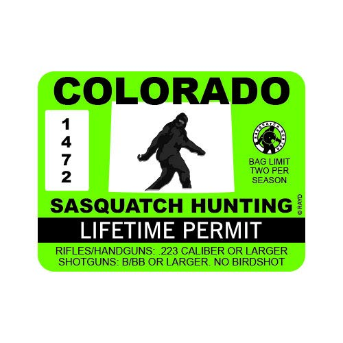 "RDW Colorado Sasquatch Hunting Permit - Color Sticker - Decal - Die Cut - Size: 4.00"" x 3.00"""