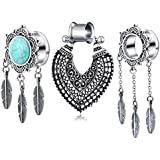 TIANCI FBYJS 3 Pairs Dangle Tunnels Woman Turquoise Ear Gauges Plugs Tunnels Stretching Kit Tapers Plug Eyelets 2g-00g Piercing (Style2 16mm=5/8'')