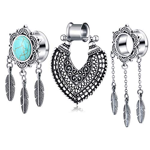 TIANCI FBYJS 3 Pairs Dangle Plugs Woman Turquoise Earrings Gauges Ear Tunnel Stretching Kit Tapers Plug Eyelets 2g-00g Piercing Surgical Steel (Style2 12mm=1/2'')