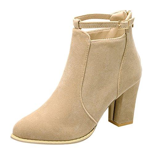 Lenfesh Women Buckle Ladies Belt Faux Warm Boots Ankle Boots High Heels Zip Martin Shoes Beige CDUAo