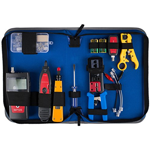 Parts Express Advanced Network Ethernet LAN Install Tool Kit with LCD Cable Tester Hunter and Case