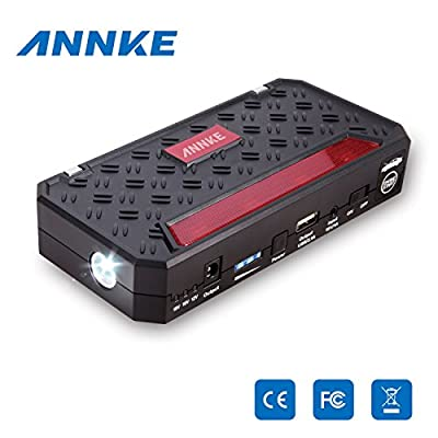 Annke CP-03 12000mah High Capacity Battery Jump Starter Mini Lightweight Design for Easy Portability Ultra-bright Led Flashlight for SOS Car Battery Jump Starter Make Your Car Never Stop