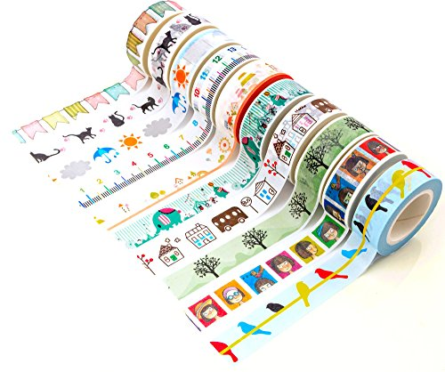 DIYCrew Decorative Funny Washi Paper Tape Rolls - Set of 10