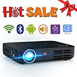 WOWOTO H8 Video Projector DLP LED Full HD 3D Support 1080P Android OS WiFi&Bluetooth 300' Mini Home Theater Mini Work with Android iPhone USB AV SD HDMI Multi-screen Sharing Touch Control Projectors