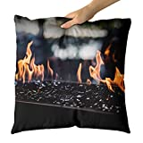 Westlake Art - Fire Fireplace - Decorative Throw Pillow Cushion - Picture Photography Artwork Home Decor Living Room - 18x18 Inch (6AFD-F49BE)