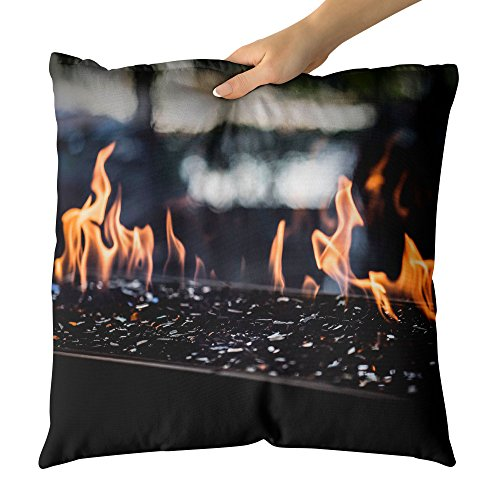 Westlake Art - Fire Fireplace - Decorative Throw Pillow Cushion - Picture Photography Artwork Home Decor Living Room - 18x18 Inch (6AFD-F49BE) by Westlake Art
