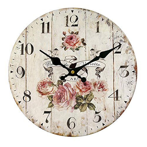 30CM Vintage European Style Wooden Wall Clock - 7