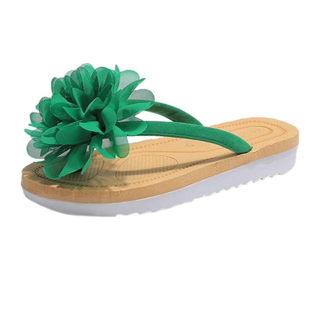Esharing 2019 New Spring Toe Womens Shoes Large Flowers Flat Bottom Beach Shoes Herringbone Sandals and Slippers