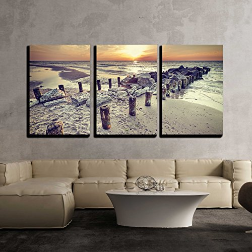 wall26 - 3 Piece Canvas Wall Art - Retro Vintage Style Beautiful Sunset Over Baltic Sea Coast, Miedzyzdroje in Poland. - Modern Home Decor Stretched and Framed Ready to Hang - 24