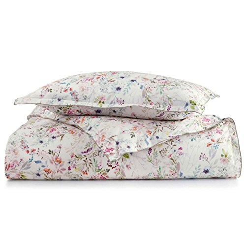 Peacock Alley Chloe Printed Percale Duvet Cover, Queen, Floral