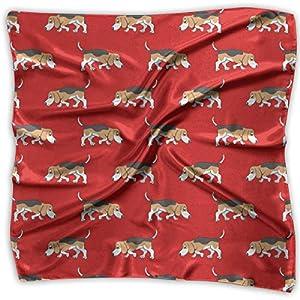 Women Vintage Beagle Sniffs Dog Cute Pattern Print Square Handkerchiefs Bandanas Head & Neck Tie Scarf