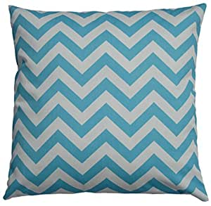 JinStyles Chevron Striped Cotton Canvas Decorative Throw Pillow Cover (Carolina Blue, 18 x 18 Inches)