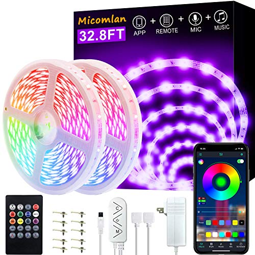 Micomlan 32.8ft/10M LED Strip Lights,Music Sync Color Changing RGB LED Strip Built-in Mic, Bluetooth app Controlled LED Lights Rope Lights, 5050 RGB LED Light Strip(APP+Remote+Mic+3 Button ) (32.8FT)
