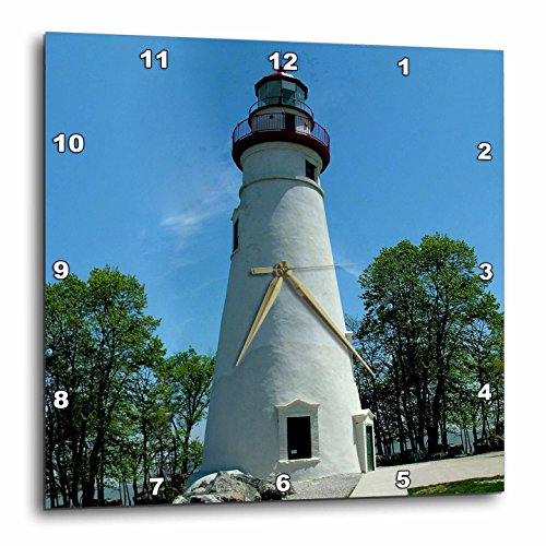 3dRose dpp_61708_2 Marblehead Lighthouse Looking Over Lake Erie Wall Clock, 13 by ()