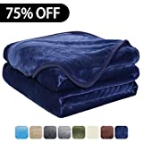 Luxury Fleece Super Soft Thermal Blanket Warm Fuzzy Microplush Lightweight Blankets for Bed Sofa, Seashell Series,Queen,90 by 90 Inches,Dark Blue