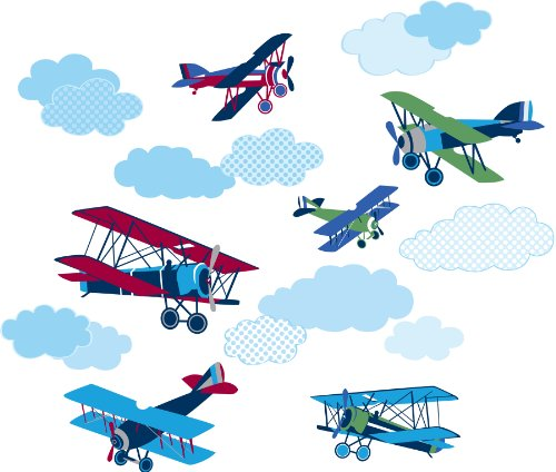 Peel Planes Vintage - Wall Pops WPK0629 Mighty Vintage Planes Wall Decals