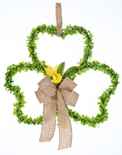 Miles Kimball Shamrock Grapevine Wreath with Flowers by Miles Kimball