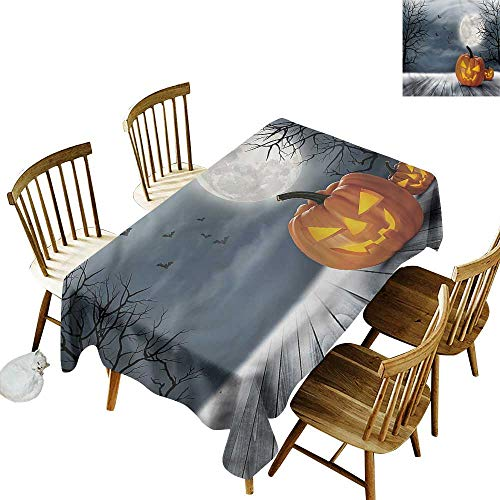 (one1love Rectangular Tablecloth Halloween Full Moon Night Pumpkins Dinner Picnic Table Cloth Home Decoration 54