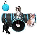 3 Way Cat Tunnel - Collapsible Pet Play Tube Toy with a Catnip & a Ringball and a Storage Bag for Rabbits Kittens and Dogs