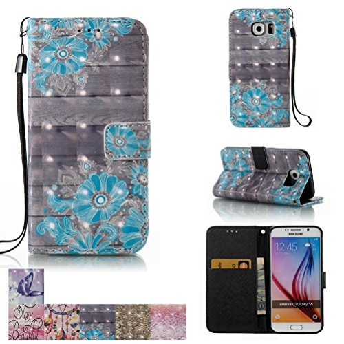 Galaxy S6 Case, Firefish [Kickstand] [Card/Cash Slots] Flip Cover Impact Dispersion Wallet with Wrist Strap for Samsung Galaxy S6 -Blue Flower