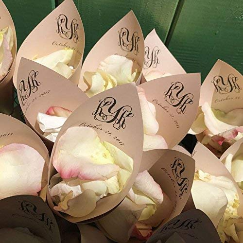 Rose Gold Personalized Wedding Petal Favor Cones ()