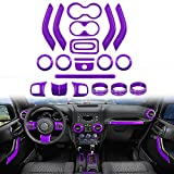 Opall Full Set Interior Decoration Trim Kit Steering Wheel & Center Console Air Outlet Trim, Door Handle Cover Inner, Passenger Seat Handle Trim For Jeep Wrangler JK JKU (21PCS PURPLE)