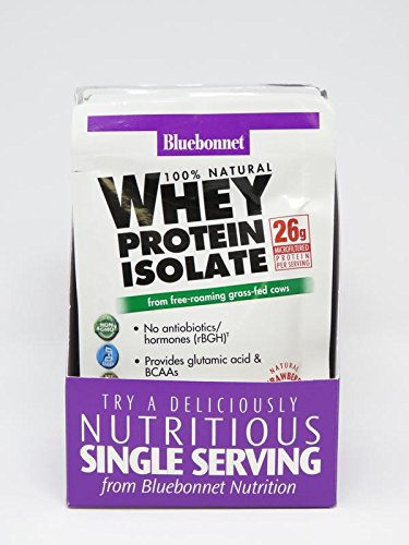 Bluebonnet Nutrition Whey Protein Isolate Powder, Strawberry Flavor, 26 g (8 Count)