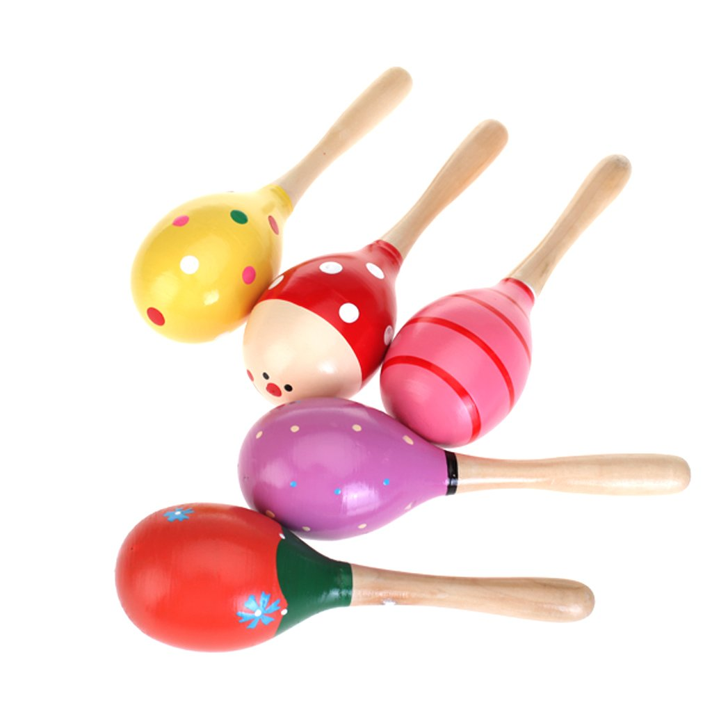 1 Wooden Maraca Rattles Musical Party Favor Kids Baby Shaker Toy Xmas Gift DQUS