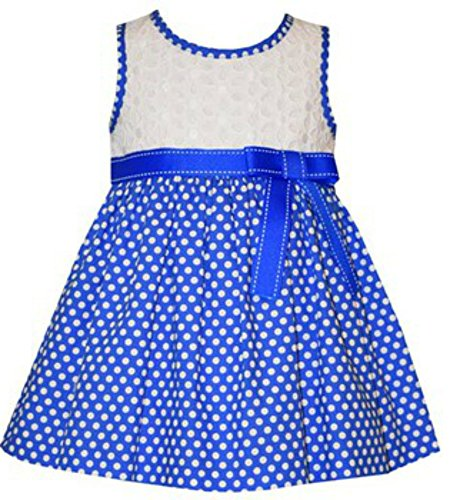 - Bonnie Jean White Eyelet Bodice Blue Polka Dot Skirted Dress with Bloomers (12M)