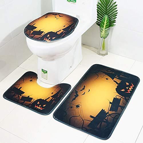 Clearance Sale!DEESEE(TM)3pcs Non-Slip Suction Grip Bath Mat Bathroom Kitchen Carpet Doormats Decor Hallowen -